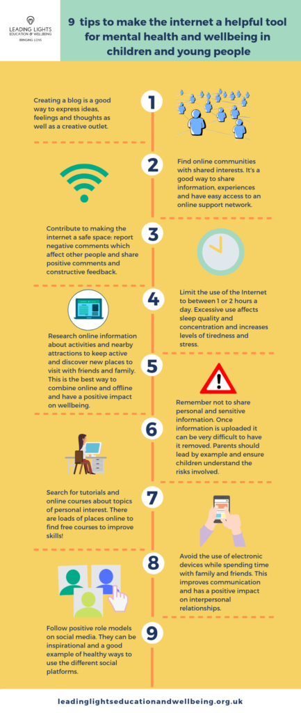 9  tips to make the internet a helpful tool for mental health and wellbeing in children and young people